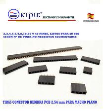 TIRAS CONECTOR 2,54mm HEMBRA VARIOS PINES,PCB, PARA MACHO PLANO(VER DESCRIPCIÓN)