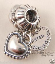 2PC MY SPECIAL SISTER Authentic PANDORA Silver ALE 925 HEART Charm DANGLES New