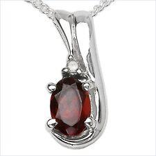 Collier/Kette mit Diamant/Granat-Anhänger 925 Silber Rhodiniert