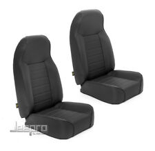 Smittybilt Package Deal! Front PAIR Bucket Seat Black Denim 76-17 Wrangler