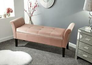 Upholstered Blush Pink Window Seat Ottoman Storage Compartment Bench Footstool
