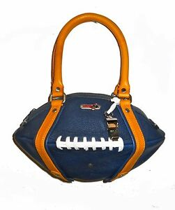 NEW Red24 Navy Blue/Yellow Gold Leather FOOTBALL PURSE Hand Bag+Whistle Rams NFL