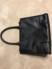 Tory Burch Ella Large  Leather And Canvas Tote-Black