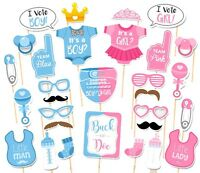 30PCS Baby Shower Gender Reveal Party Supplies Boy or Girl Photo Booth Props US