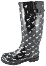 NEW! Ladies Smoky Mountain Boots Western - Rubber - Black & White Horses
