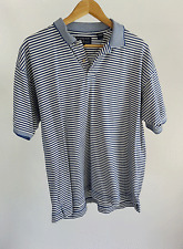 Hathaway Sport Blue and White Striped Polo Golf Shirt size L Large