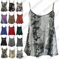 New Womens Printed Sleeveless Camisole Strappy Flared Swing Cami Summer Vest Top