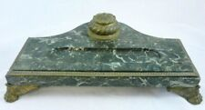 19TH C ANTIQUE Napoleonic Empire French Verde Green MARBLE & BRONZE INKWELL