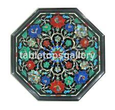 "12"" Marble Top Coffee Table Semi Precious Mosaic Floral Inlay Garden Decors B155"