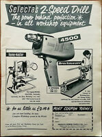 Selecta 2-Speed Drill The Power Behind Perfection / Surform Vintage Advert 1959