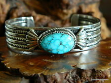 NEW Sterling Silver Turquoise Stone Navajo Cuff Bracelet Signed TAHE