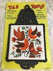 Vintage Black Cast Iron Bird Ceramic Tile Trivet Kitchen Wall Decor Cathay Tile