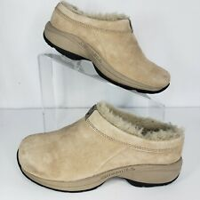 Merrell Size 6 Clogs Women's Primo Chill Slide Tan Suede Shearling Mule Comfort