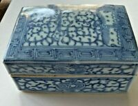 Antique Chinese Blue and White Porcelain Ink Box