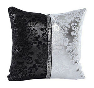 Fennco Styles Silver and Black Collection Vintage Design Decorative Throw Pillow