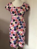Boden Multicoloured Floral Cotton Pencil Dress Size 10 Pink Orange Blue Summer