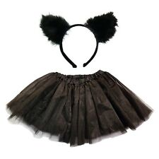 GIRLS BLACK CAT EARS HEAD BAND NET TUTU SKIRT SET FANCY DRESS HALLOWEEN COSTUME