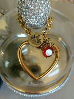 Juicy Couture Love Wishes Heart tag Charm Bracelet Gold Tone Charm huge runway