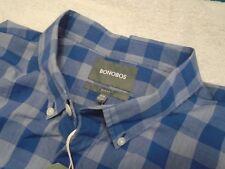 Bonobos 100% Cotton Blue & Gray Checked Pattern Slim Fit Sport Shirt NWT XXL $88