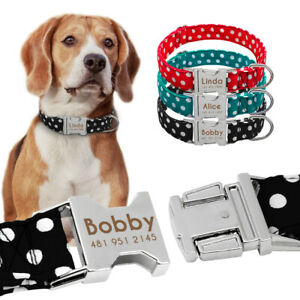 Polka Dots Dog Personalised Collars Small Large Dogs Metal ID Name Tags Engraved