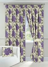 """One Pair of 90"""" x 90"""" Purple & Cream Curtains Pencil Pleat Fully Lined Tie backs"""