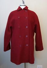 Womens Calvin Klein Red 100% Wool Double Breasted Button Front Coat Size 14
