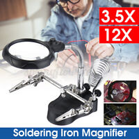 LED Helping Hand Clamp Magnifying Glass Soldering Iron Stand Lens Magnifier  !