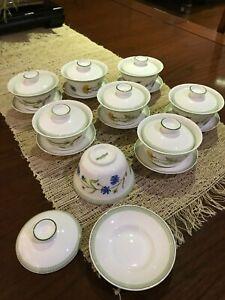 Villeroy & Boch Eden Super Rare 3-piece Gaiwan Chinese Tea Cups 8x Person Set