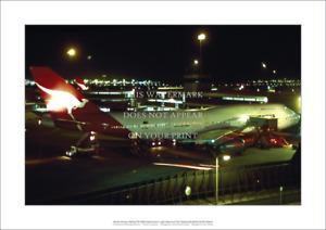 "Qantas Boeing 747-338 A2 Art Print Night Departure Sydney – 59 x 42 cm 23"" x 17"""