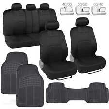 9 Pc Sporty Mesh Cloth Black / Black Seat Cover and 3 Pc Solid Black Rubber Mats