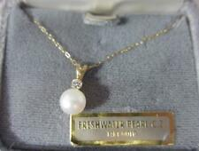 """14K Solid Yellow Gold Pearl CZ Pendant Necklace on 18"""" Chain"""
