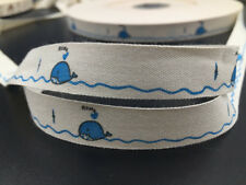 """5y blue whale Cotton Ribbon 5/8"""" Handmade Gift Present Package DIY Sewing"""