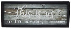 This Is Us Our Life Story Home Rustic Farmhouse Sign Shelf Sitter Decor for Wall