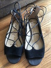 "f7cf78d7bd792 New ListingSam Edelman ""Barbara"" Black Lace Up Ballet Flat Size 6. Black lace  up peep toe ..."