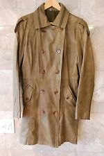 BOD CHRISTENSEN GREEN LEATHER ZIP BUTTON BELTED COAT JACKET WOMEN SIZE L