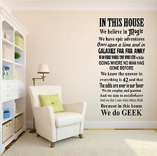 In This House We Do Geek Wall Decal Star Wars Galactica Fandom Vinyl Sticker