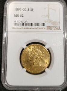1891 CC $10 Liberty Head Eagle NGC MS 62 Uncirculated Carson City Mint