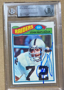 1977 Topps John Matuszak #173 Autographed Card Oakland Raiders Goonies Beckett