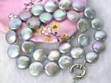 Schöne 12-11mm grau Münze Japanische Akoya Perlenkette 45cm 0554