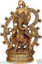 "JAI God Ganesha Standing OM Throne Statue 20"" Big Brass Hindu Figure Art 13.2 KG"