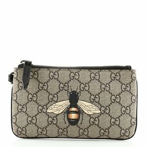 Gucci Wristlet Zip Pouch Printed GG Coated Canvas Mini
