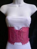 Women Belt Fashion Elastic Pink Wide Corset High Waist Flower Tie Small - Medium