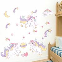 Rainbow Unicorn Wall Sticker Kids Girls Room Cartoon Decals Moon Star Art Decor