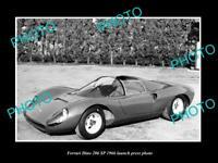 OLD LARGE HISTORIC PHOTO OF FERRARI DINO 206 SP 1966 LAUNCH PRESS PHOTO 2