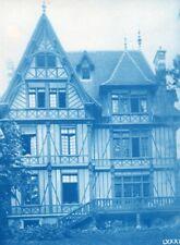 France Normandie Villa Art Nouveau Cyanotype Photo 1895