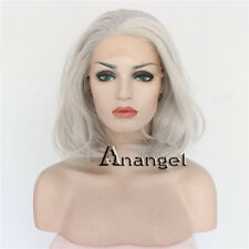Grey Lace Front Wig Bob Short Gray Resistant Synthetic Hair for Woman's Wigs