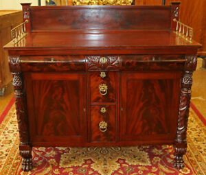Acanthus Mahogany Empire Server Sideboard Possibly By Duncan Phyfe Circa 1830