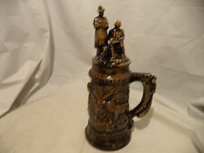 "GIANT Hand-Made Ceramic Beer Stein 15"" tall-Hunter and Wildlife."