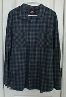 Quicksilver Mens Flannel Long Sleeve Shirt XL Extra Large Blue Gray Plaid EUC