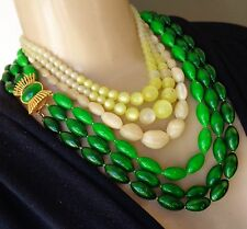 Vintage 3 Necklace Lot Moonglow Plastic & Carved MOP Beads Green Pale Yellow